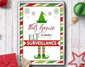 Shelf Elf Surveillance Sign - Print Ready PDF Instant Download