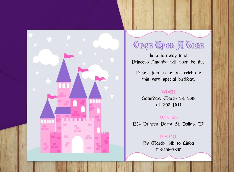 DIY Do It Yourself Pretty Princess Castle Invitation