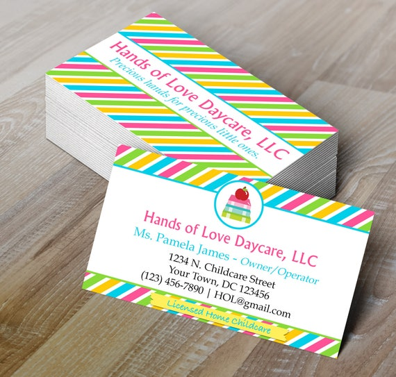 DIY Do It Yourself Childcare Business Card Daycare