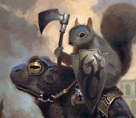 MTG Magic Art by Clint Cearley Squirrel Riding Frog Playmat