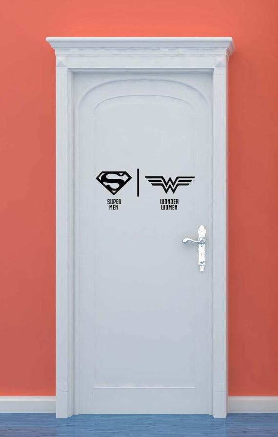 Bathroom Restrooms Sign Men Women Superman Wonder Woman   Etsy
