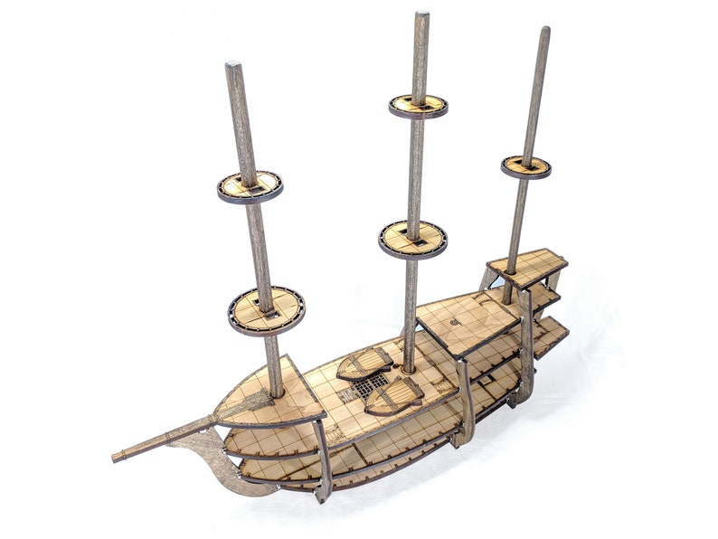5-Level Galleon Ship w/Masts Crows Nests // 1 Inch Square image 0