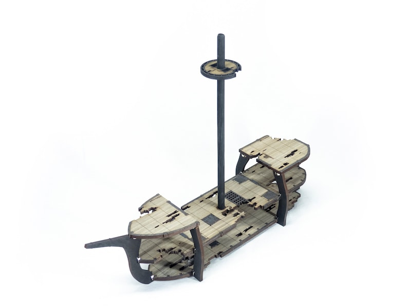 3-Level Ghost/Wrecked Classic RPG Ship w/Mast // 1 Inch Grid image 0