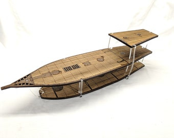 Large 3-Level Ship with 1 Inch Square Grid for Tabletop RPGs, Laser Cut Stained Solid Poplar and Acrylic