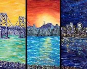 Original Oil Painting of San Francisco Bay on 3 panels