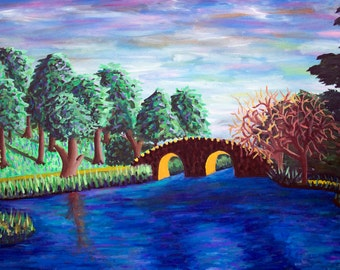 """Original oil landscape painting """"Stow Lake"""" by Cameron Chernoff"""