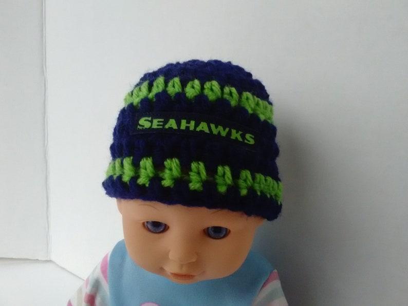 football teams hat,baby  shower gift warm hat winter hat newborn photo prop Seattle Seahawks inspired preemie hat  micro preemie