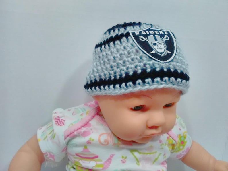 b7037a1bd3216 Oakland Raiders inspired baby hat toddler hat winter hat