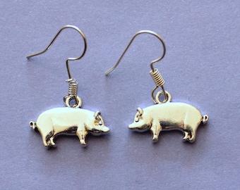Silver Pig Earrings Pigs Farm Animals Tibetan Present Gift Drop Hook