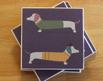 Dachshund Coasters,Dog Coaster,Sausage Dog Coaster,Ceramic Coaster,Set of Coaster,Dog Lover's Gift,Present for Dog Lover,Doxie Coasters