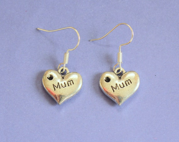 Silver Mum Charm Earrings