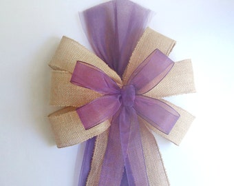 Plum Eggplant Pew Bows- Burlap-Wedding Decorations-Chair
