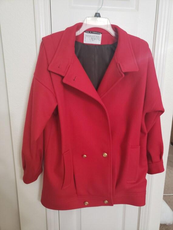 Rad 1980s Military Style Bright Red Ladies Coat Ja