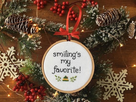 Smiling S My Favorite Elf Christmas Cross Stitch Etsy