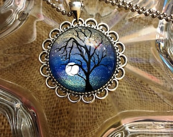 Blue Tree Hand Painted Glass Cameo Necklace