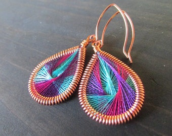 Aqua & Multi-Colored Hand-Woven Peruvian Thread Earrings