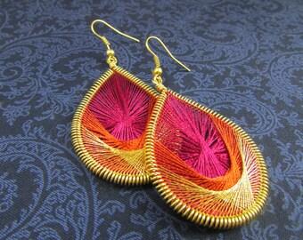 Peruvian Thread Dangle Earrings - Pink, Burnt Orange & Metallic Gold