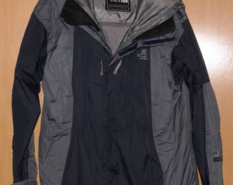 25c9ada31b72 Vintage 90 s The North Face Men s Large Coat Parka Jacket Hooded Black Gray  Authentic Summit Series Gore-Tex XCR Size L Winter Sportswear