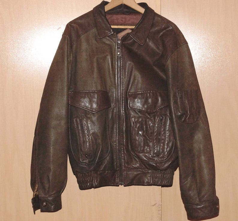 c86dc5035 Men's Pigskin Leather Coat Jacket Brown Size M Medium Vintage 90's 1990s  Retro Bomber Flight Jacket Motorcycle Excellent Full Grain