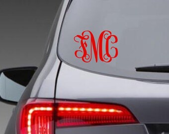Monogram Car Decals, Car Monogram Sticker