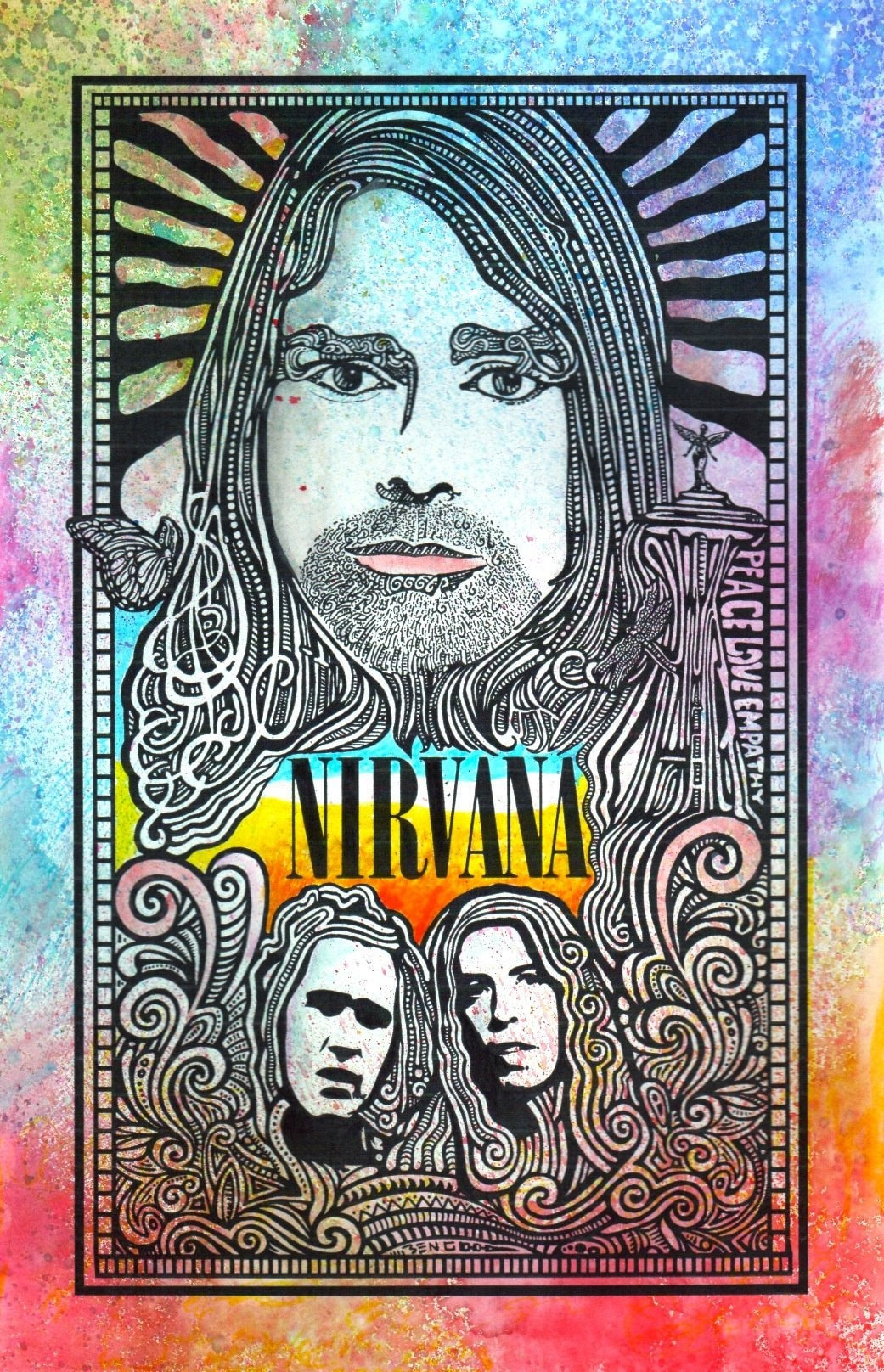 Nirvana Poster Kurt Cobain hand-colored by Posterography ...