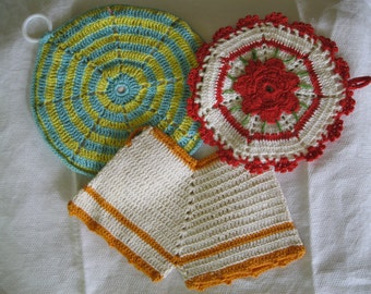 Vintage Pot Holders Hand Crocheted Trivets, Hot Pads - Choice - Red or Orange Retro Kitchen Decor, Unique Gift, Midcentury