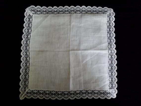 Retro Vintage Handkerchief white lace on white mid century fabric something old bridal hanky vintage linens vintage hankies