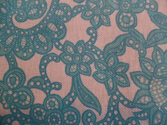 Vintage Upholstery Fabric Aqua Off White Retro Remnant Scraps For Chair Stool Cushion Pillow 1960s Large Print Seat Cover