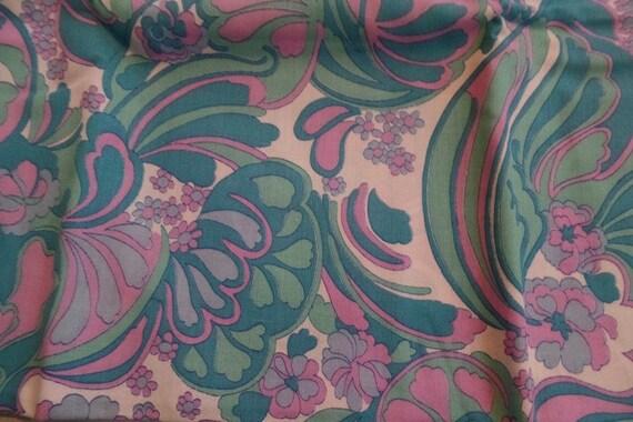 Vintage Upholstery Fabric Aqua Pink Retro Remnants 3 Etsy