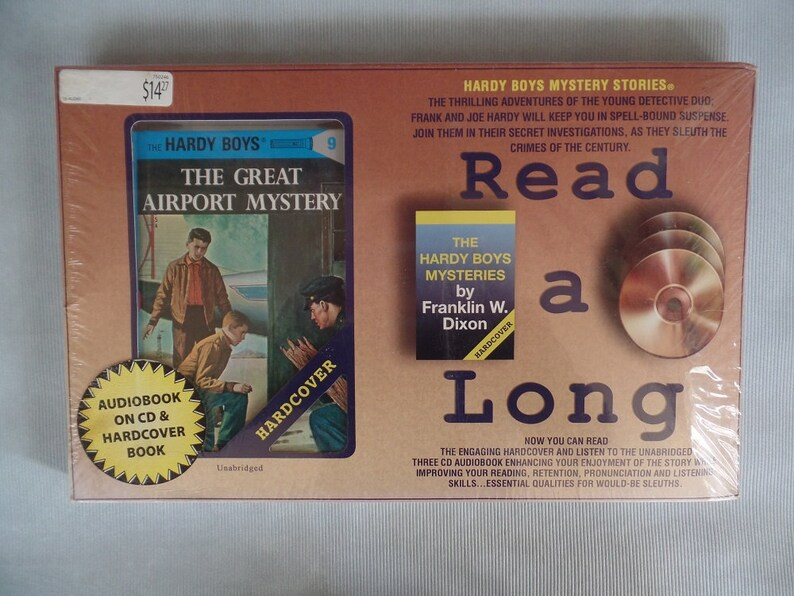 Hardy Boys Hardcover Novel and Audio Book, NOS, The Great Airport Mystery,  Flashlight Edition, Youth, Airplane