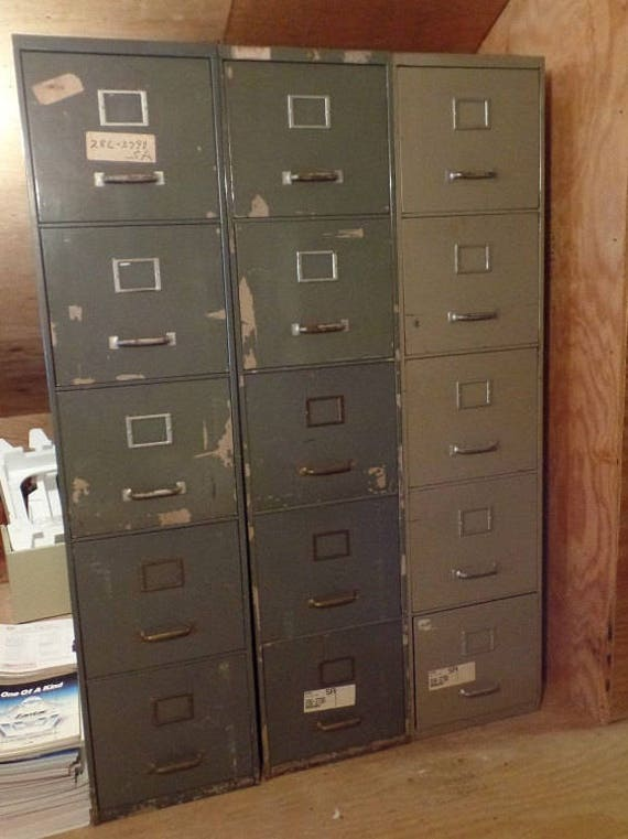 Filing Cabinets 3 Vintage Industrial Five Drawer Steel Cabinets Heavy Duty Metal Large Letter Size Files Pick Up Only Other Sizes Also