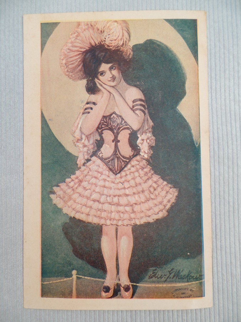 Historical 1910s Unposted Signed Illustrations Female Model Fashion Pinup Vintage Postcards Gibson Girls UPPC Collectible Ephemera