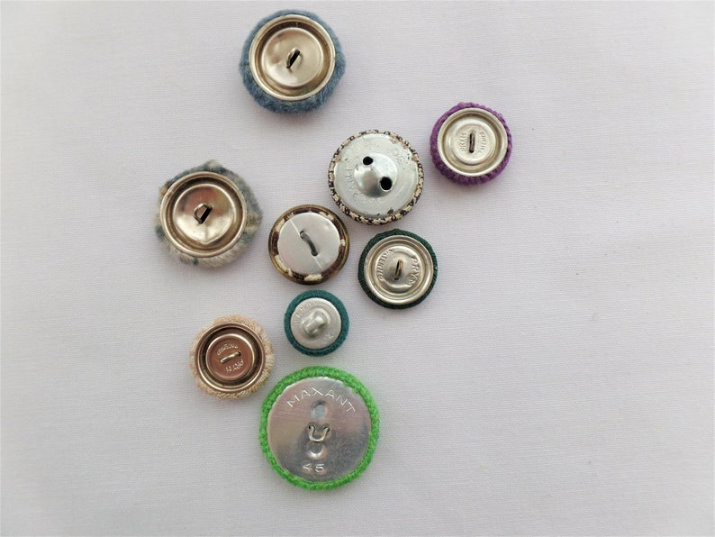 Fabric Covered Button Lot Nine Misc Colors /& Sizes w Shanks Vintage Mixed Destash Woven Craft Green Blue Purple Houndstooth