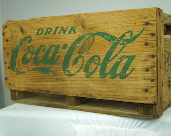 Rustic Coca-Cola Crate - Coke Wood Carrier - Wooden Soda Crate - Wood Pop Carrier - Four Six-Packs - Vintage Coca-Cola Wood Crate