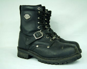 Black Harley Davidson Motorcycle Boots - Size 8 US Mens, 7 UK Mens, 41 EU -  Ankle Boots  - Harley Lace Ups w/ Ankle Strap - D408