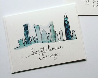 Sweet Home Chicago Illustrated Skyline Note Cards