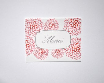 Hand-Painted Floral Thank You Notes Merci