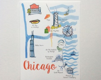 Sweet Home Chicago Illustrated Map Notecards