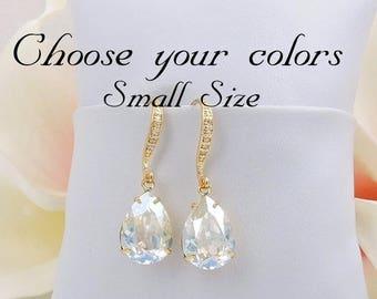 FREE US Ship Small Gold Moonlight Swarovski Teardrop Bridal Earrings Swarovski Moonlight Gold Teardrops Bridal Earrings Bridesmaid Gift