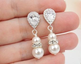 FREE US Shipping Swarovski Pearl And Cubic Zirconia Teardrop Bridal Earrings Bridal Jewelry Bridesmaid Gift Pearl Bridal Earrings