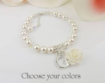 FREE US SHIP Personalized Swarovski Pearl Flower Girl Bracelet Flower Girl Rose Bracelet Flower Girl Gift Custom Girls Bracelet Best Seller
