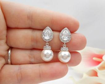Cubic Zirconia Teardrop And Swarovski Pearl Bridal Earrings CZ Teardrop Bridal Earrings Pearl Bridal Earrings Bridesmaid Gift FREE SHIPPING!