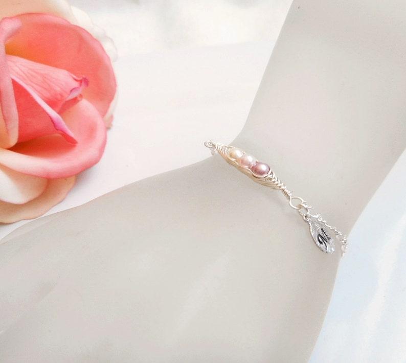 Personalized Flower Girl Pea Pod Bracelet Custom Flower Girl Gift Small 3 Pea/'s In A Pod Bracelet Dainty Pea Pod Bracelet