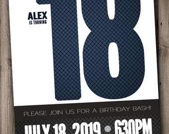 18th BIRTHDAY Party Invitation For Man Male