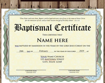 picture about Printable Baptism Certificates titled Baptism certification Etsy