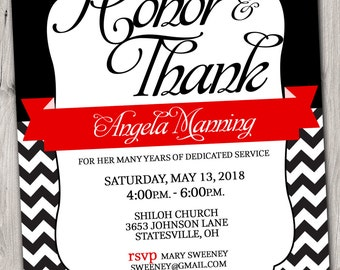 Pastor Appreciation Invitation Red And Black Or Pick Any Color Etsy