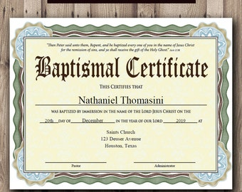 editable baptism certificate template pdf adobe reader etsy