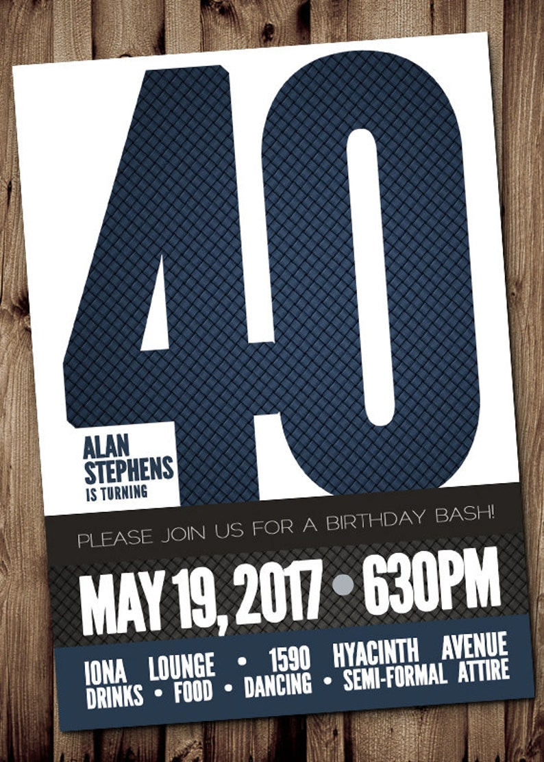 40th BIRTHDAY Party Invitation For Man Male Blue Silver