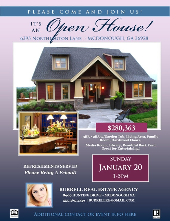 realtor flyer template open house microsoft publisher etsy