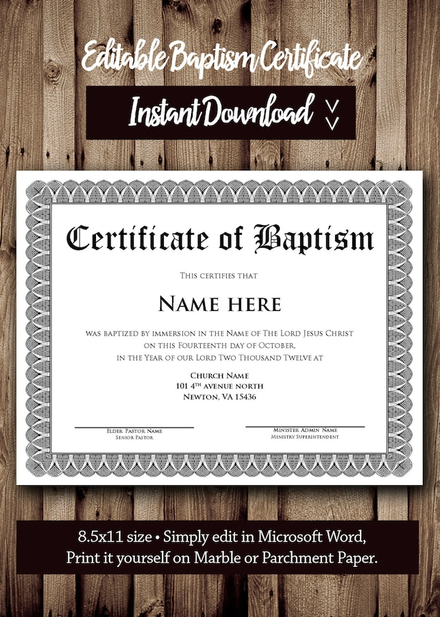 Baptism Certificate Template Microsoft Word Editable Etsy